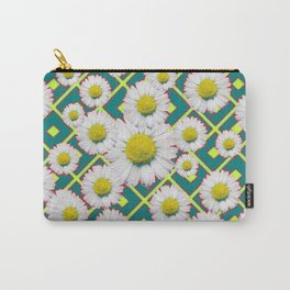 Teal Color Shasta Daisies Lime Pattern Art Abstract Carry-All Pouch