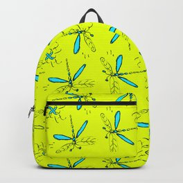 Turquoise Dragonflys On Yellow Back Backpack
