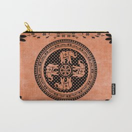 Indian Elephant Floral Hippie Bohemian Design On Orange Carry-All Pouch