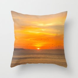 Sunset Coast with Orange Sun and Birds Throw Pillow