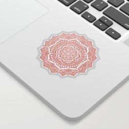 White Flower Mandala on Rose Gold Sticker