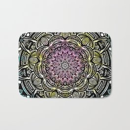 DETAILED CHARCOAL MANDALA (BLACK AND WHITE) WITH COLOR (PINK YELLOW TEAL) Bath Mat