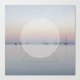 Calm Sea Sail Boats Geometric Nature Art Canvas Print