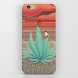 vermilion flycatchers, agave americana, & coral snake iPhone Skin