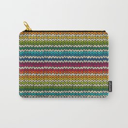 Rainbow knitted stripes Carry-All Pouch