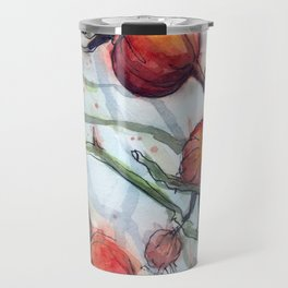 Rose Hips Abstract Watercolor Nature Travel Mug