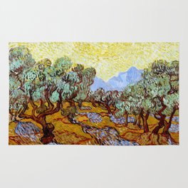 "Vincent Van Gogh ""Olive Trees With Yellow Sky And Sun"" Rug"