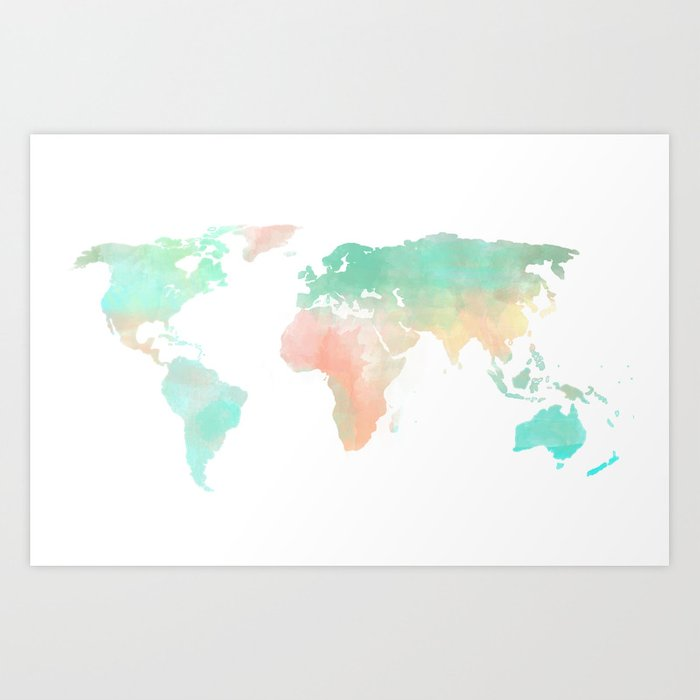 Watercolor world map art print by sunkissedlaughter society6 watercolor world map art print gumiabroncs Choice Image