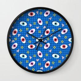 Hungry - eyes retro grid throwback 1980s minimal modern pattern print wacko designs neon Wall Clock