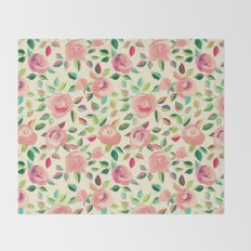 Pastel Roses in Blush Pink and Cream  Throw Blanket