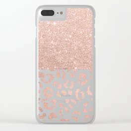 Trendy modern faux rose gold glitter ombre leopard pattern Clear iPhone Case