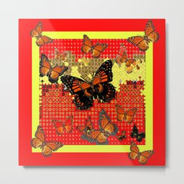 Red Abstracted Black & Orange Monarch Buttterflies Metal Print