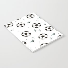 Fun grass and soccer ball sports illustration pattern Notebook