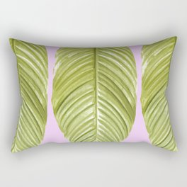 Three large green leaves on a pink background - vivid colors Rectangular Pillow