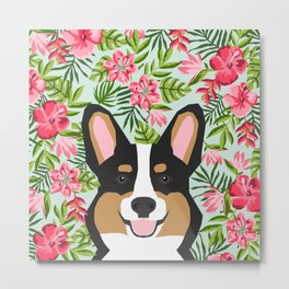 Tricolored Corgi Hawaiian Floral Print Metal Print