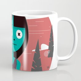 Girl alone in the forest. A sad child. Coffee Mug
