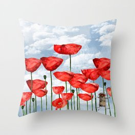 Mouse and poppies on a cloudy day Throw Pillow