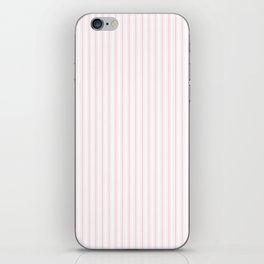Light Soft Pastel Pink and White Mattress Ticking iPhone Skin