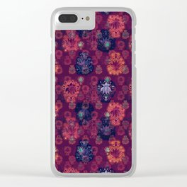 Lotus flower - fire on mulberry woodblock print style pattern Clear iPhone Case