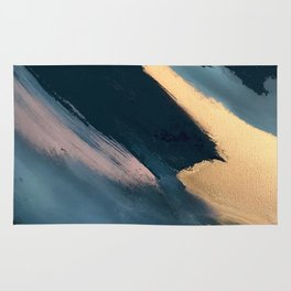 Ignite: colorful abstract in blue pink and gold Rug