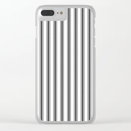 Black and White English Rose Trellis in Mattress Ticking Stripe Clear iPhone Case