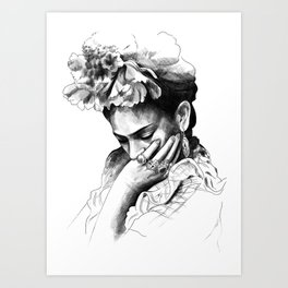 Frida Kahlo - pencil portrait Art Print