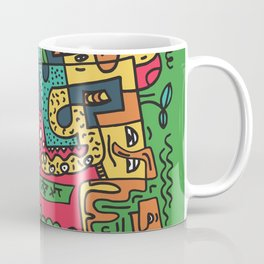 Green Doodle Monster World by Pablo Rodriguez (Pabzoide) Coffee Mug