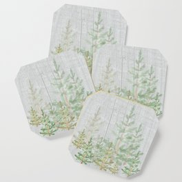 Pine forest on weathered wood Coaster