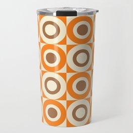 Mid Century Square and Circle Pattern 541 Orange and Brown Travel Mug