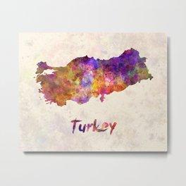 Turkey in watercolor Metal Print