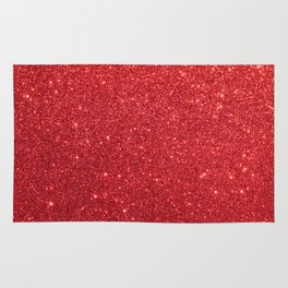 Ruby Red July Leo Birthstone Shimmering Glitter Rug