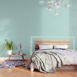 Chevron Stripes : Seafoam Green & White Wallpaper