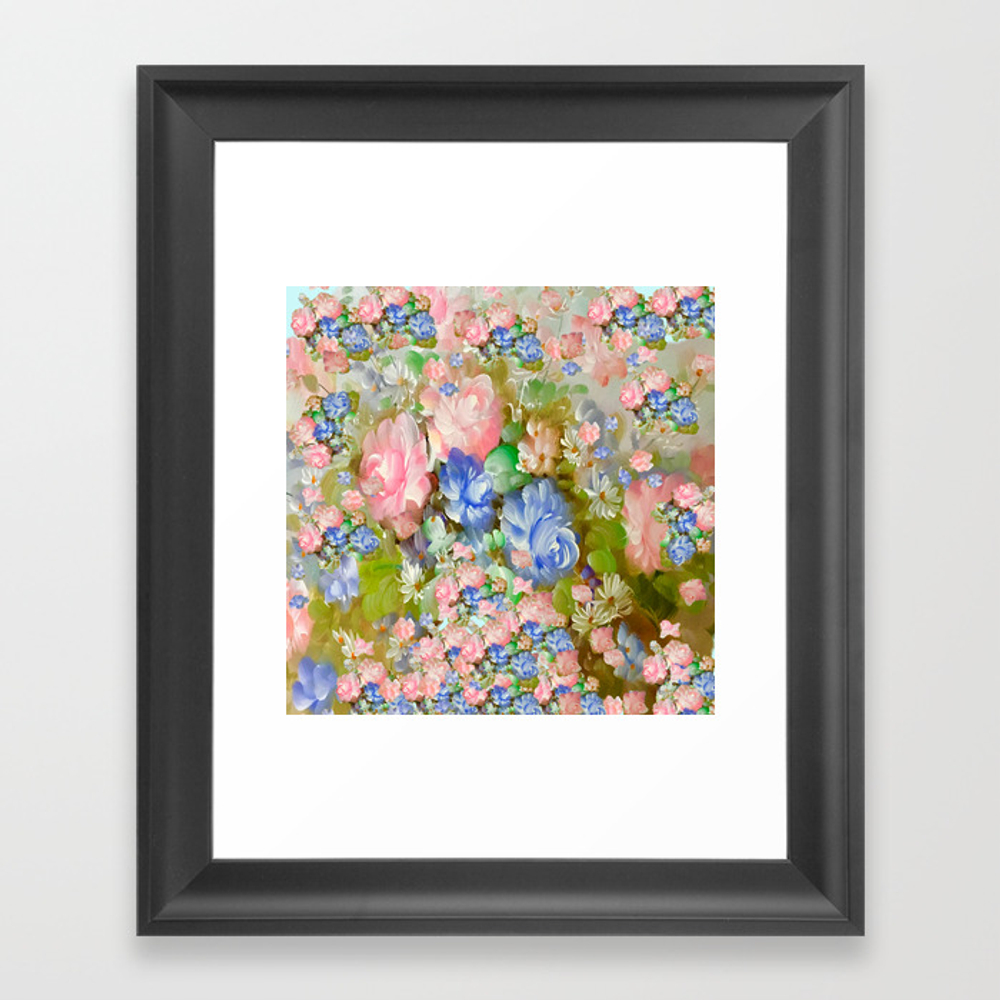 Roses Pink And Painterly Blue So Shabby Chic Framed Art Print by Saundramyles FRM8951103