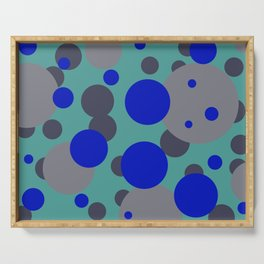 bubbles blue grey turquoise design Serving Tray