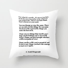 for what it's worth - fitzgerald quotes Throw Pillow
