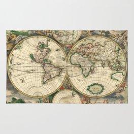 Old map of world (both hemispheres) Rug