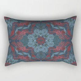 Vintage Fancy - a Pattern in Deep Teal & Red Rectangular Pillow