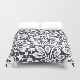 White Lace. Seamless Pattern. Duvet Cover