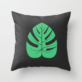 Monstera plant leaf Throw Pillow