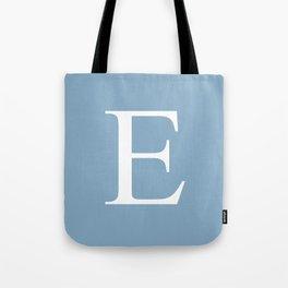 Letter E sign on placid blue color background Tote Bag