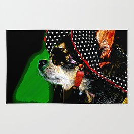 classy chihuahua dog lady vector art Rug