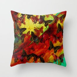Butterflies Abstract mixed media digital art collage Throw Pillow