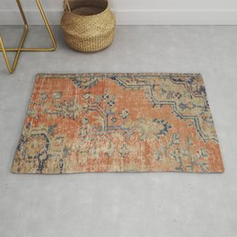 Vintage Woven Navy and Orange Rug