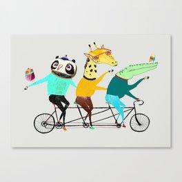 Animals biking. bike art, bike decor, bikes. Canvas Print
