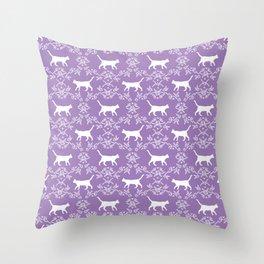 Cat florals floral silhouette pet portrait cat art cat lady purple and white Throw Pillow
