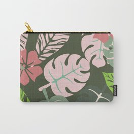 Tropical leaves green and pink paradises Carry-All Pouch