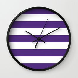 Regalia - solid color - white stripes pattern Wall Clock