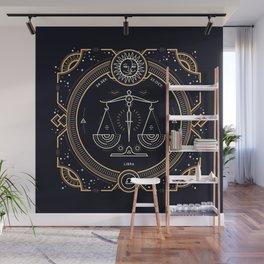 Libra Zodiac Golden White on Black Background Wall Mural
