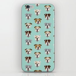 English Bulldog pattern print dog breed pet portrait gifts for dog owner bulldog iPhone Skin