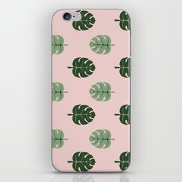 Tropical leaves Monstera deliciosa green and pink #monstera #tropical #leaves #floral #homedecor iPhone Skin